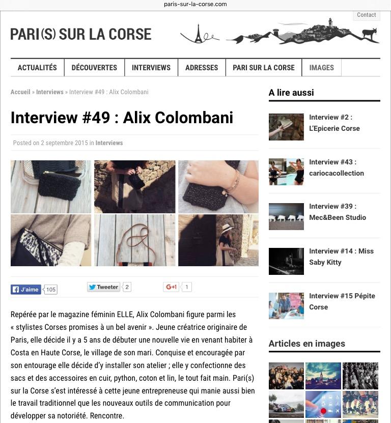 Alix Colombani Interview Pari(s) sur la Corse
