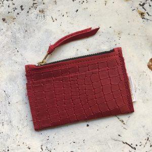 mini portefeuille rouge Alix Colombani, fait main en Corse